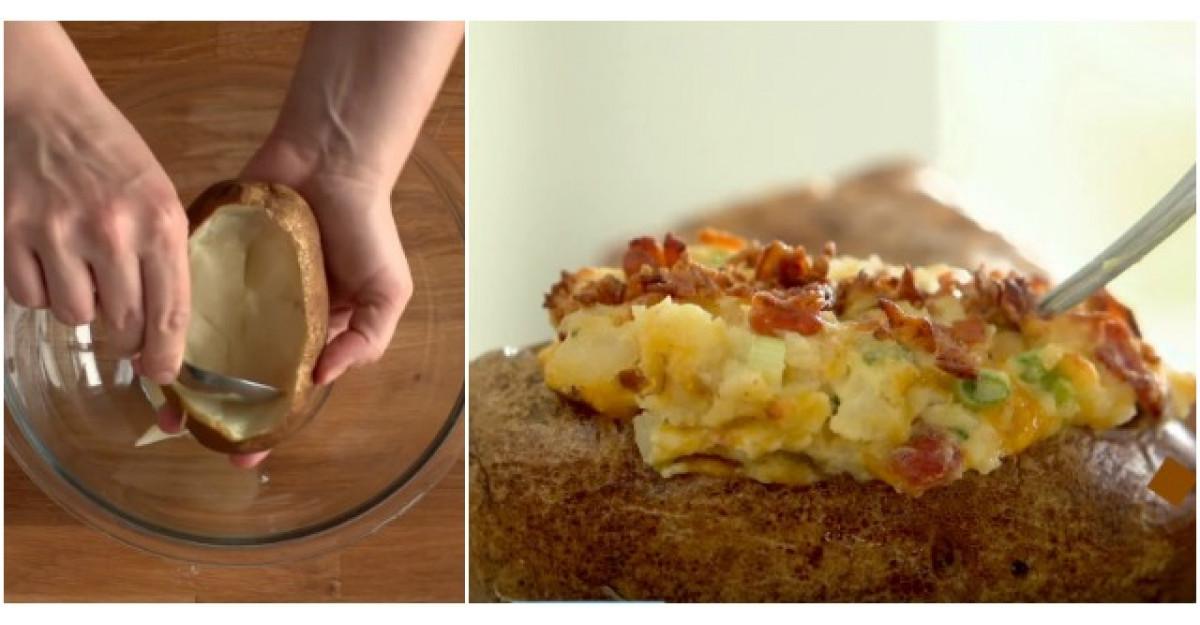 Video: Scobeste interiorul cartofului copt. Ce urmeaza? O reteta cu care ii vei multumi pe toti