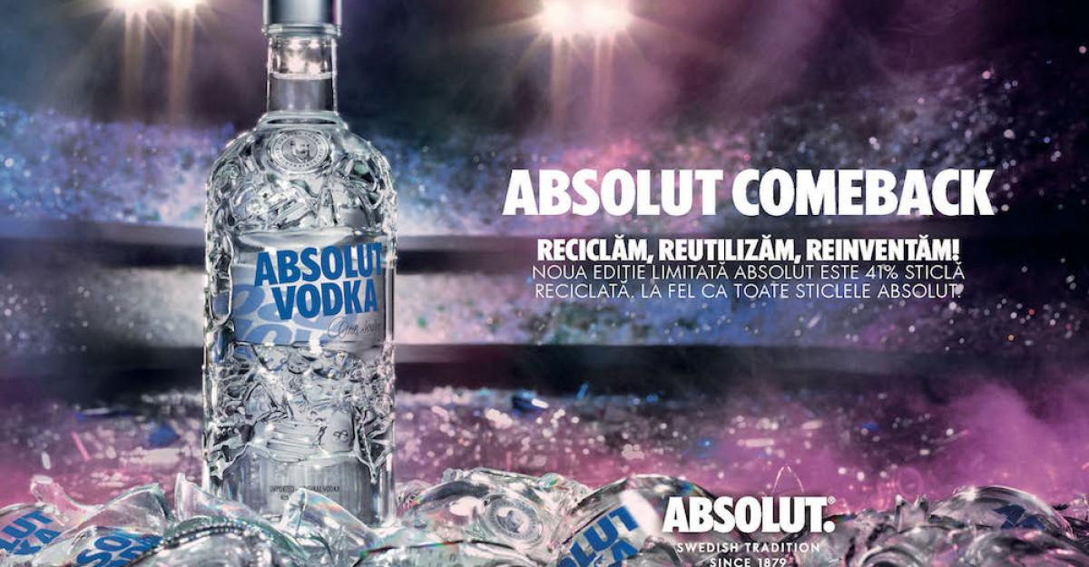 Absolut lansează noua ediție limitată Absolut Comeback din 41% sticlă reciclată!