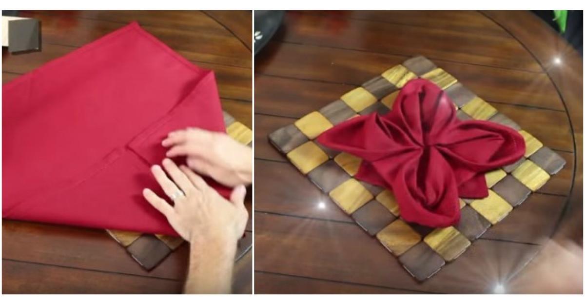 Video: Incepe sa impatureasca un servetel. Ce urmeaza? Este perfect pentru sarbatori!