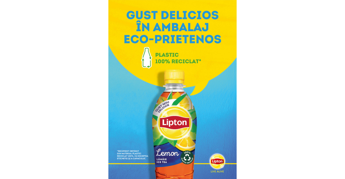Lipton inovează în categoria de Ice Tea și introduce sticla din plastic 100% reciclat și reciclabil