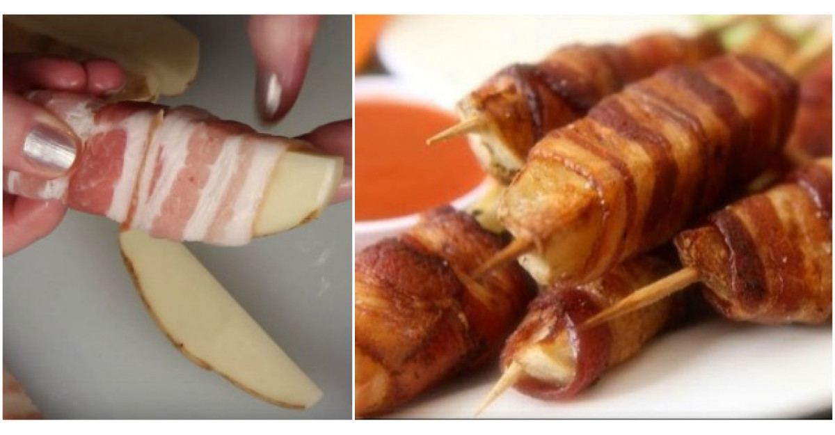 Infasoara bacon pe cartofii taiati felii. O idee geniala pentru o reteta simpla