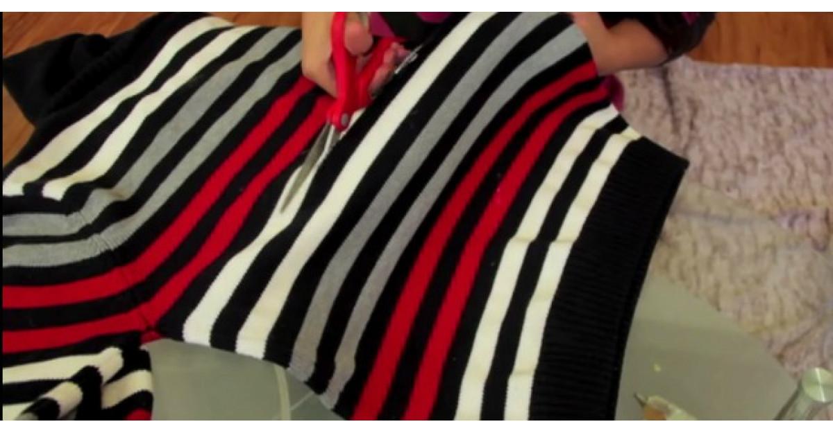 Video: Taie un pulover mai vechi. Cateva minute mai tarziu face un accesoriu MINUNAT pentru toamna