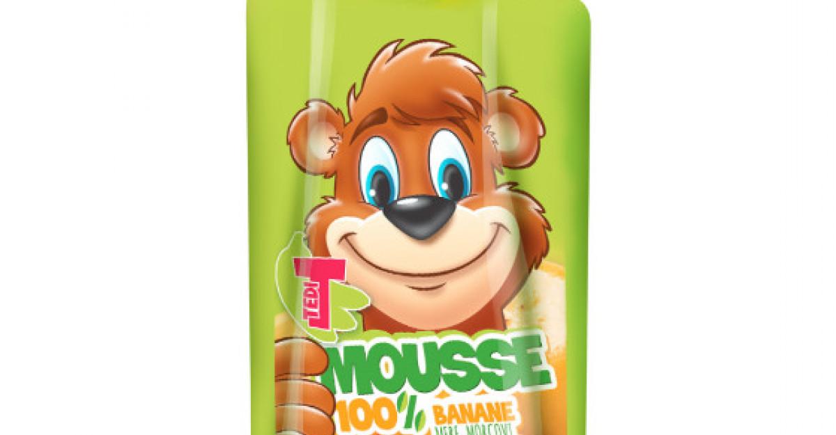 Tedi prezinta Tedi Mousse, gustarea ideala pentru copii: Fructe sub forma de piure!