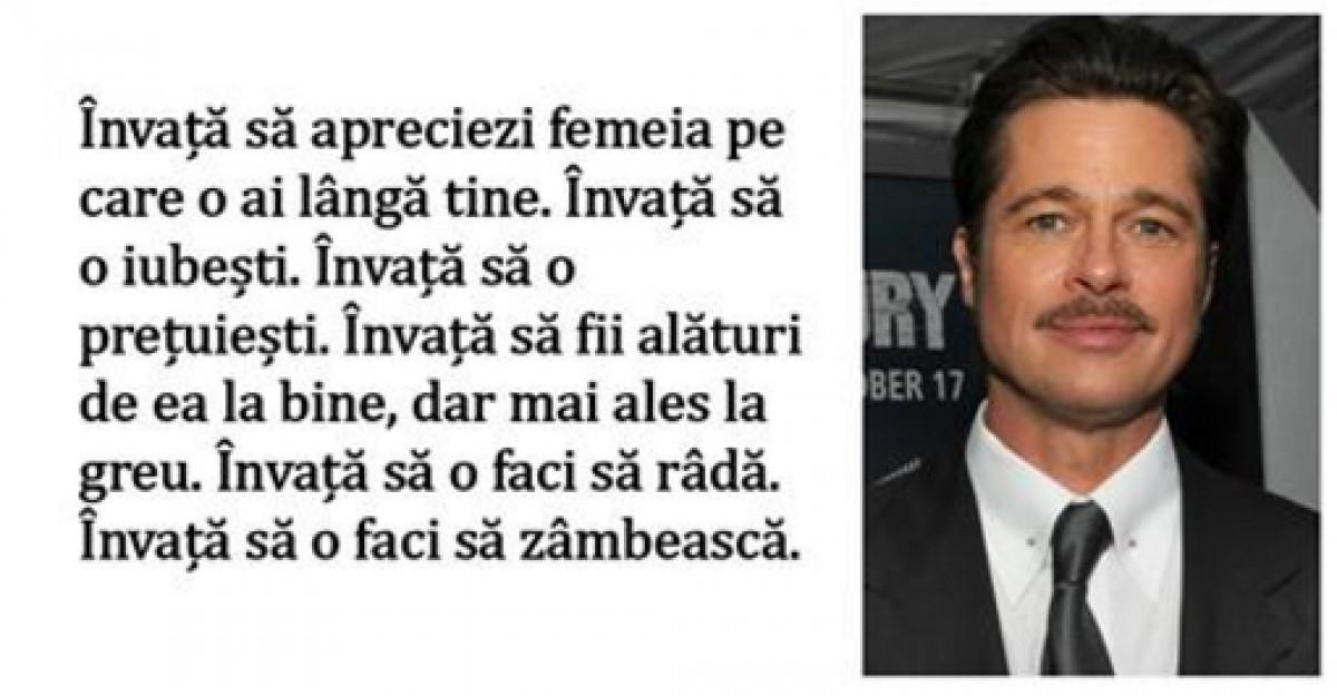 Mesajul lui Brad Pitt pentru toti barbatii din lume