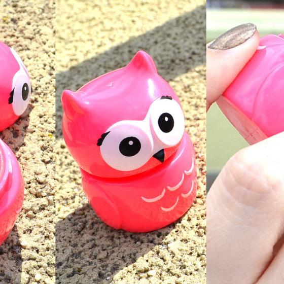 Balsamul de buze tip figurină simpatică bufniță roz Puckator Owl [review cu foto]