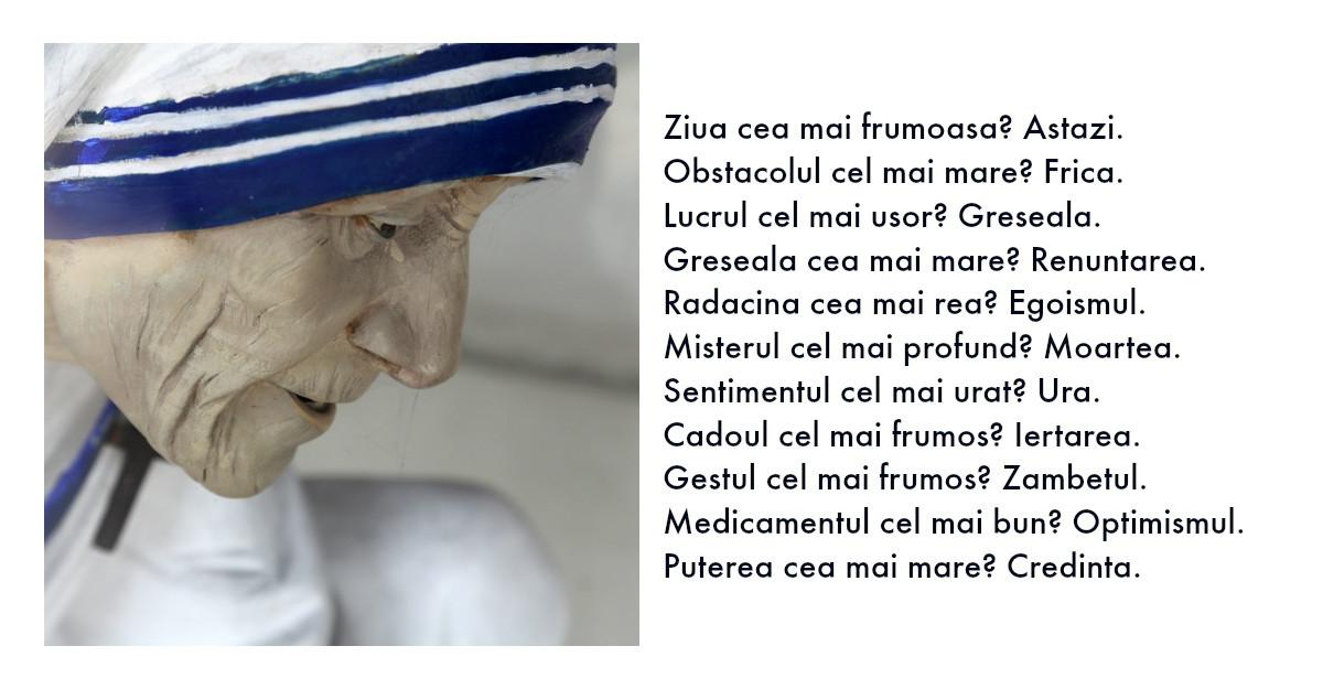 Lectii de viata de la Maica Tereza, cea mai blanda persoana din lume
