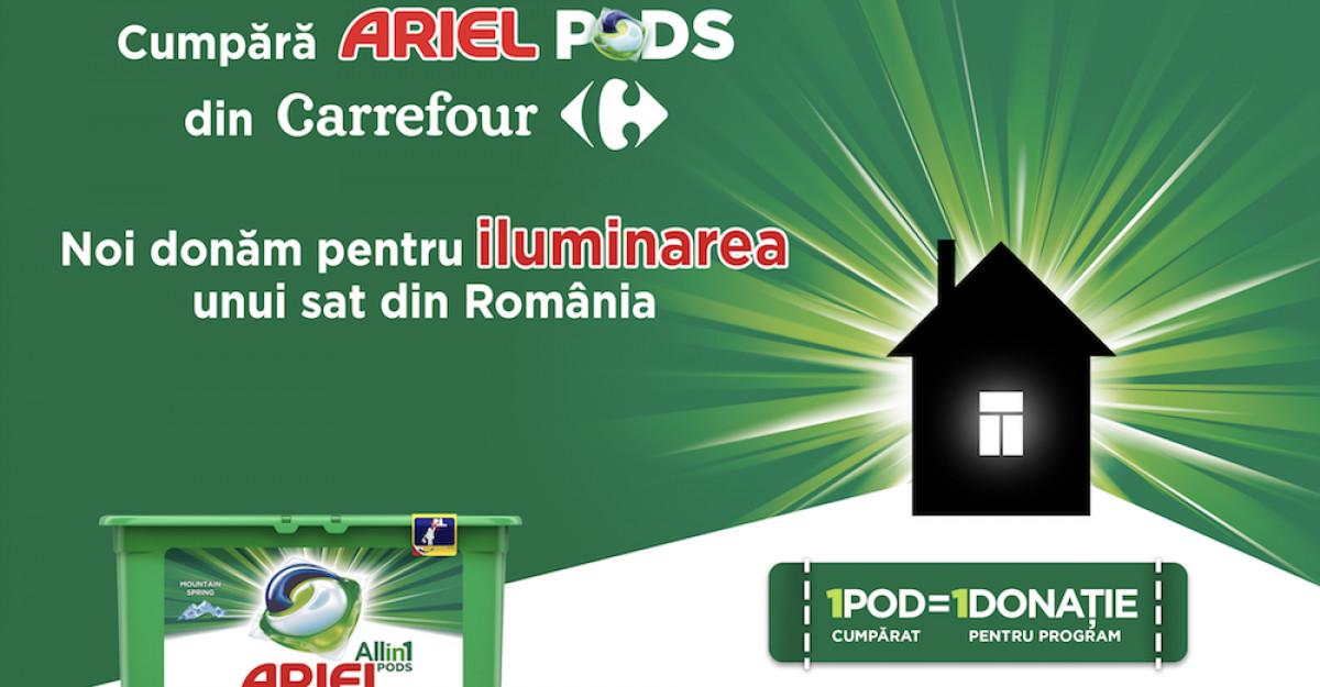 POD cu POD luminezi o casă - o campanie Ariel și Carrefour, în parteneriat cu ViitorPlus