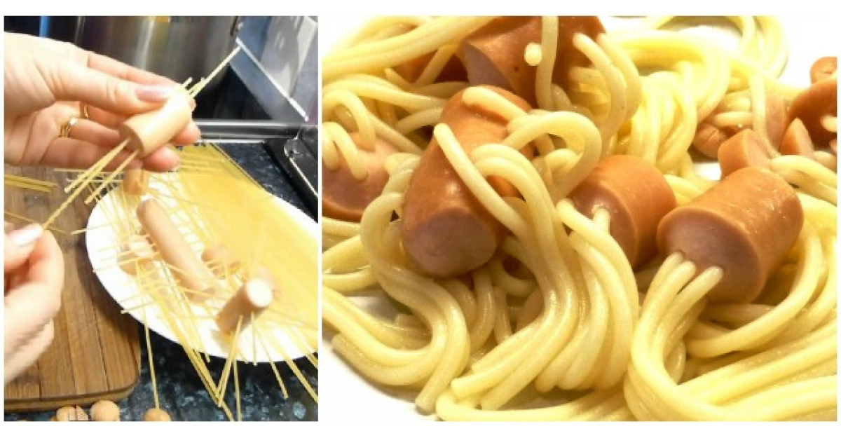 Video: Infige spaghetele in bucati de crenvursti. Cateva minute mai tarziu? DELICIOS