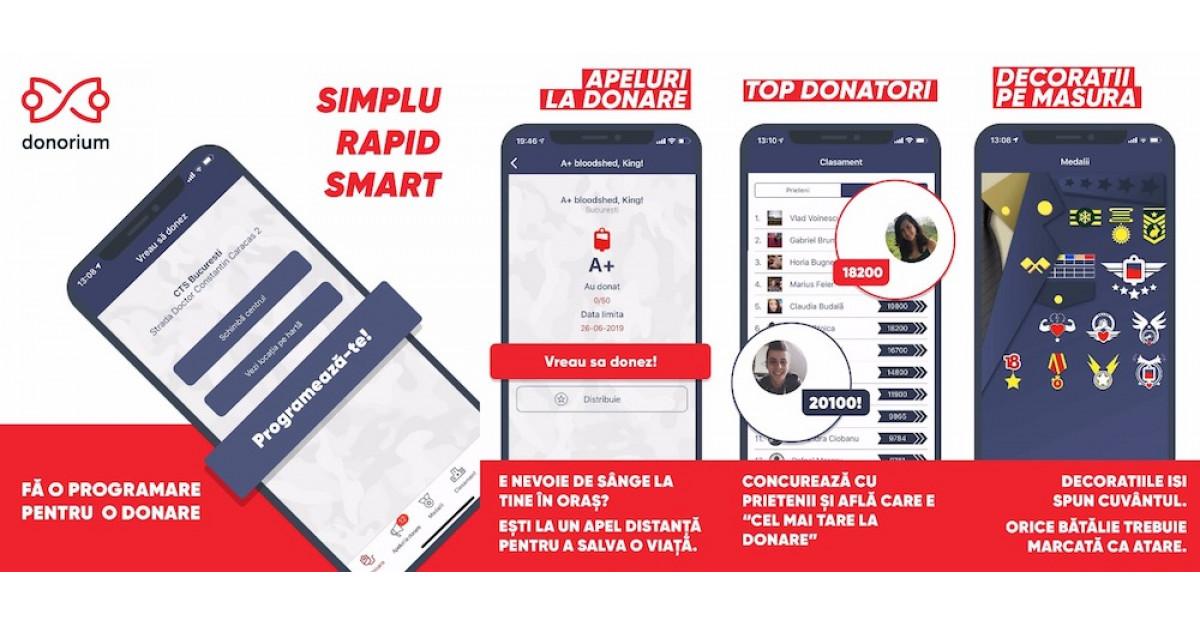 Donorium, aplicația care susține donarea de sânge,numărul 1 pe AppStore în mai puțin de 24 de ore