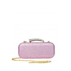 Geanta tip clutch roz cu particule stralucitoare
