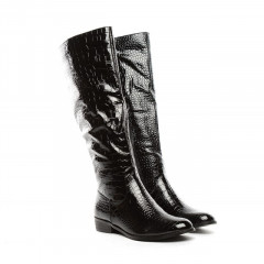 Cizme negru lacuit cu model