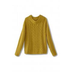 Pulover tricotat in culoarea mustarului