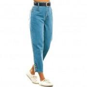 Pantaloni 3/4 denim cu nasturi