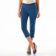 Pantaloni 3/4 denim efect abdomen plat