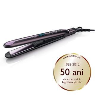Placa de intins parul Philips ProCare HP8339/00, Cablu 1.80 metri, Placi ceramice, EHD, Temperatura constanta (Violet)