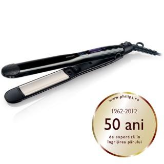Placa de intins parul Philips Care Straight & Curl HP8345/00, Cablu 1.80 metri, Placi ceramice, ThermoGuard, Ionic Care (Negru)
