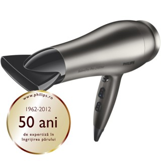 Uscator de par Philips SalonDry Pro HP8251/00, Putere 2300W, 6 trepte de viteza si temperatura, Cablu 2,50 metri, Cool Shot, Ion Conditioning, Ceramic Element (Gri)