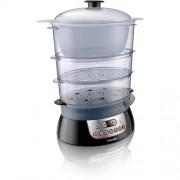 Aparat de gatit cu aburi Philips Pure Essentials HD9140/91, Putere 900W, Capacitate 8.60 litri, 3 compartimente, Cablu 1 metru, Flavour Booster (Negru)