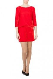 Rochie Modas rosie din catifea model R98