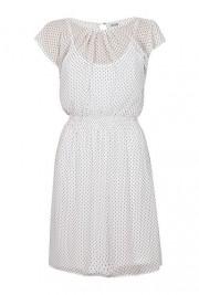 Rochie alba din voal cu imprimeu buline model R4102