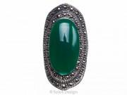 Inel argint masiv cu o piatr oval de agat verde 7