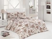 Lenjerie de pat din bumbac satinat Asteria home Ashmira maro 2 persoane