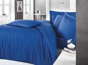 Lenjerie de pat din satin Clasy Stripe albastru 2 persoane