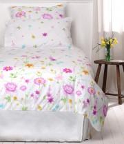 Lenjerie de pat din bumbac Cottonissima model 1305-03 roz 1 persoana