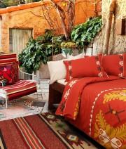 Lenjerie de pat de lux din bambus si bumbac imprimat digital Cottonissima Apuseni v1 2 persoane