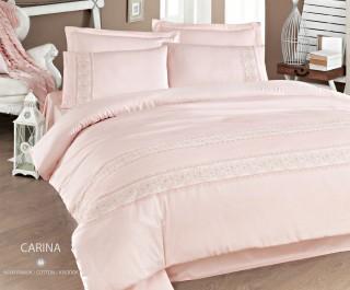 Lenjerie de pat de lux din bumbac satinat cu dantela Issimo Carina 2 persoane
