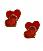 Cercei rosii in forma de inima