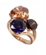 Inel placat cu aur, cu cristale mari, aplicate