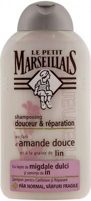 Sampon cu lapte de migdale dulci-seminte de in 250ml Le Petit Marseillais