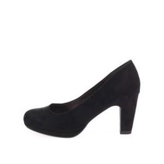 Pantofi de dama negri cu toc mediu gros si platforma joasa din piele intoarsa la pret mic