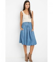 Imbracaminte Femei Forever21 Contemporary Life in Progress A-Line Chambray Skirt Medium denim