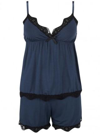 Pijamale albastre cu dantela neagra ICONE Sienna
