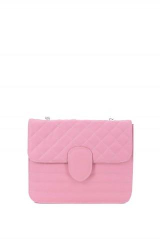 Geanta mica din piele naturala roz