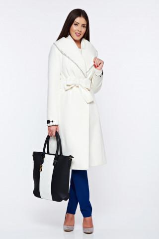 Palton elegant cu broderie la terminatii