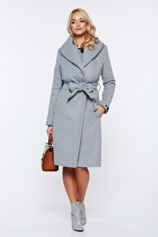 Palton gri elegant cu cordon