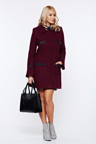 Palton elegant cu guler rotunjit