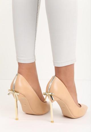 Pantofi stiletto cu toc cui inalt si fundite la spate aurii
