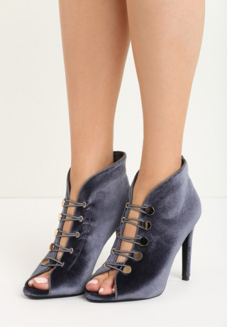 Pantofi stiletto cu toc cui tip botine fara varfuri stil peep toe cu sireturi - din catifea gri-inchis