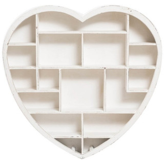 Raft de biblioteca mini alb in forma de inima in stil Shabby Chic Romantic Vintage