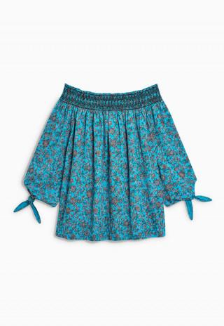 Bluza cu umerii goi albastra cu imprimeu floral si noduri la maneci NEXT
