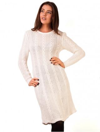 Rochie pulover tricotata alba de lungime midi