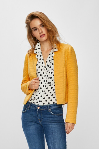 Sacou galben scurt gros ONLY in stil minimalist, cu textura de tricotaj