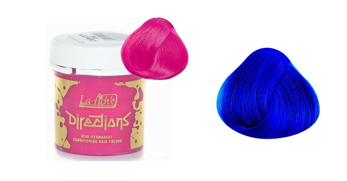Vopsea de par roz si vopsea de par albastra
