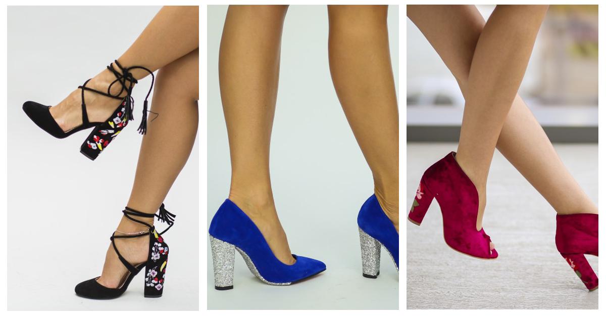 Pantofii cu toc cu imprimeu si aplicatii