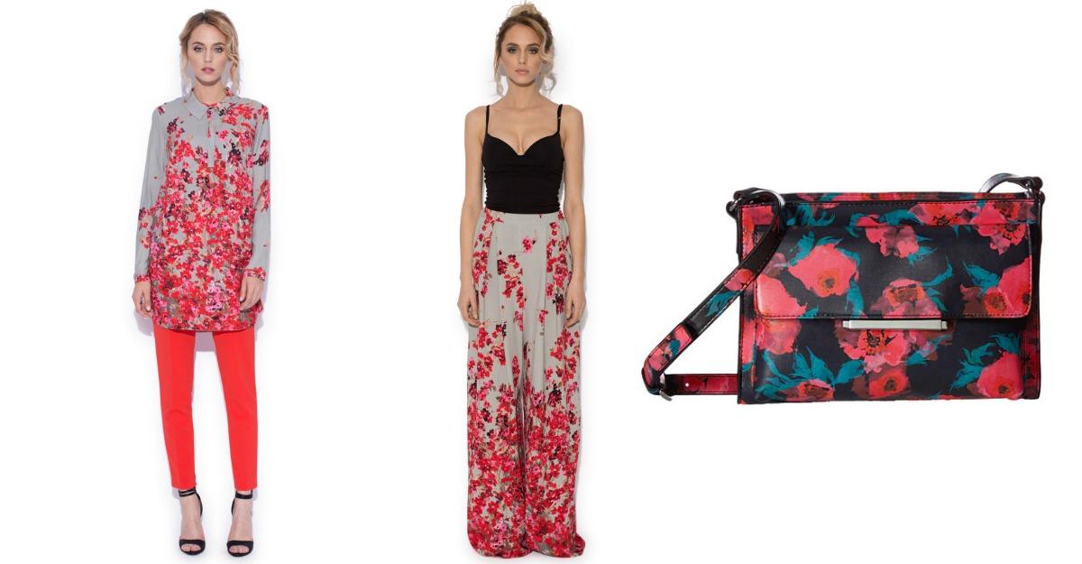Camasa lunga, pantaloni cu imprimeu floral
