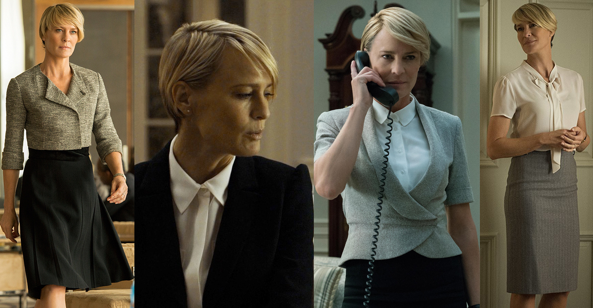 Stilul lui Claire Underwood este un mix de ladylike si androgin!